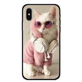 Калъфче за iPhone 213 розово коте със слушалки