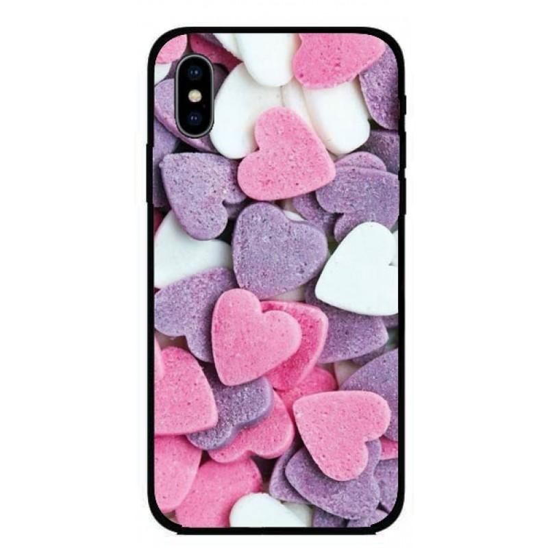 Калъфче за iPhone 221 розови и лилави сърца