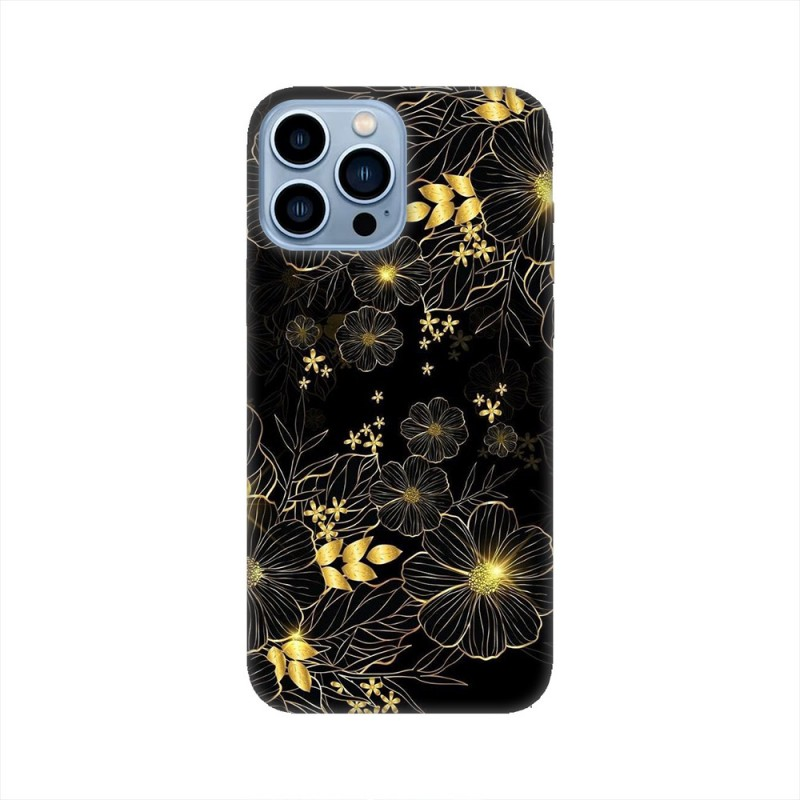 iPhone 13 Pro Max кейс Златни цветя