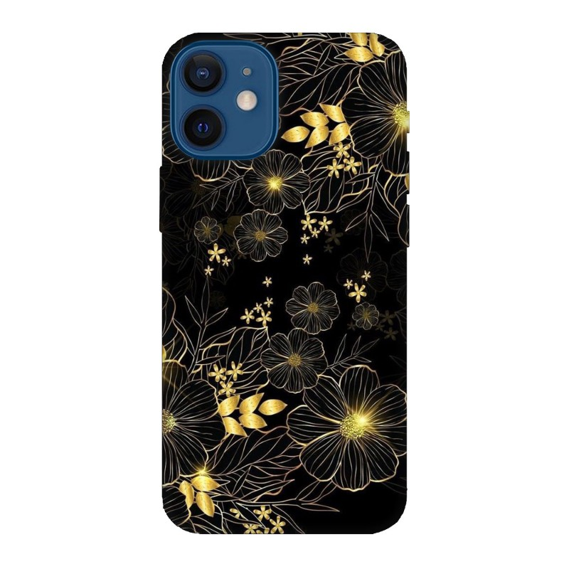 Кейс за iPhone 12 Златни цветя