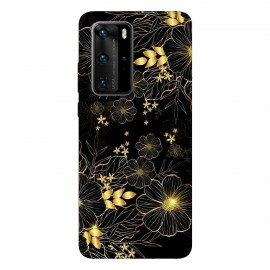 Huawei P40 Pro кейс Златни цветя