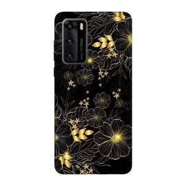 Huawei P40 кейс Златни цветя