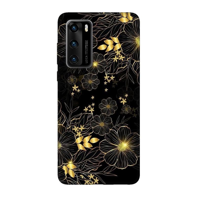 Кейс за Huawei P40 Златни цветя