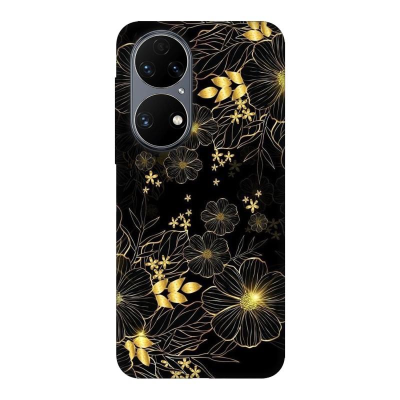 Huawei P50 кейс Златни цветя