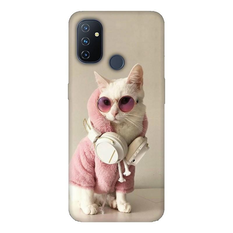 Калъфче за OnePlus 213 Розово коте със слушалки
