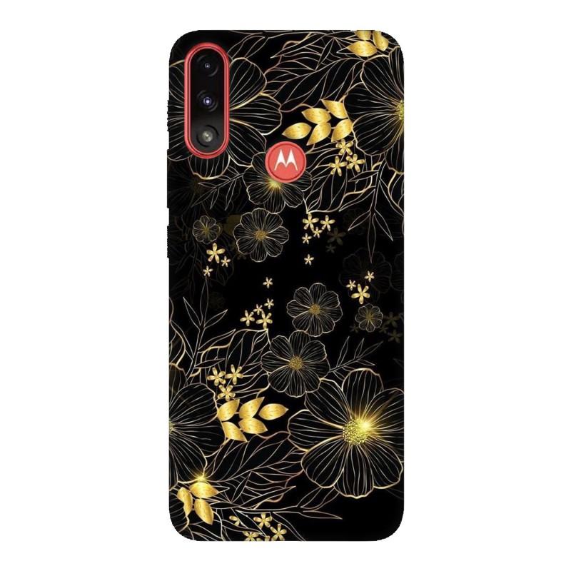 Motorola E7 Power кейс Златни цветя