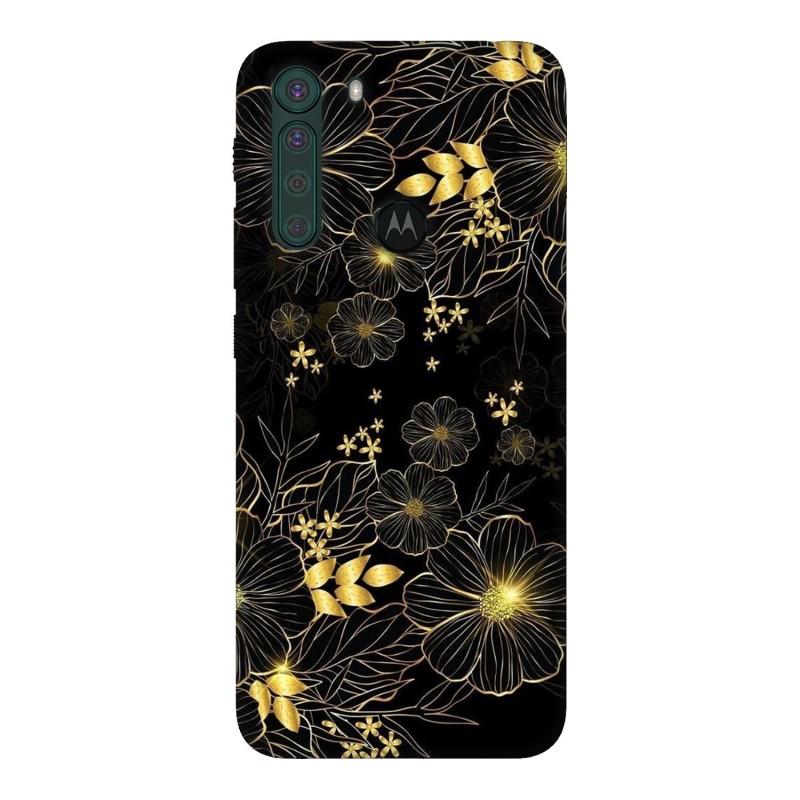 Motorola One Fusion кейс Златни цветя