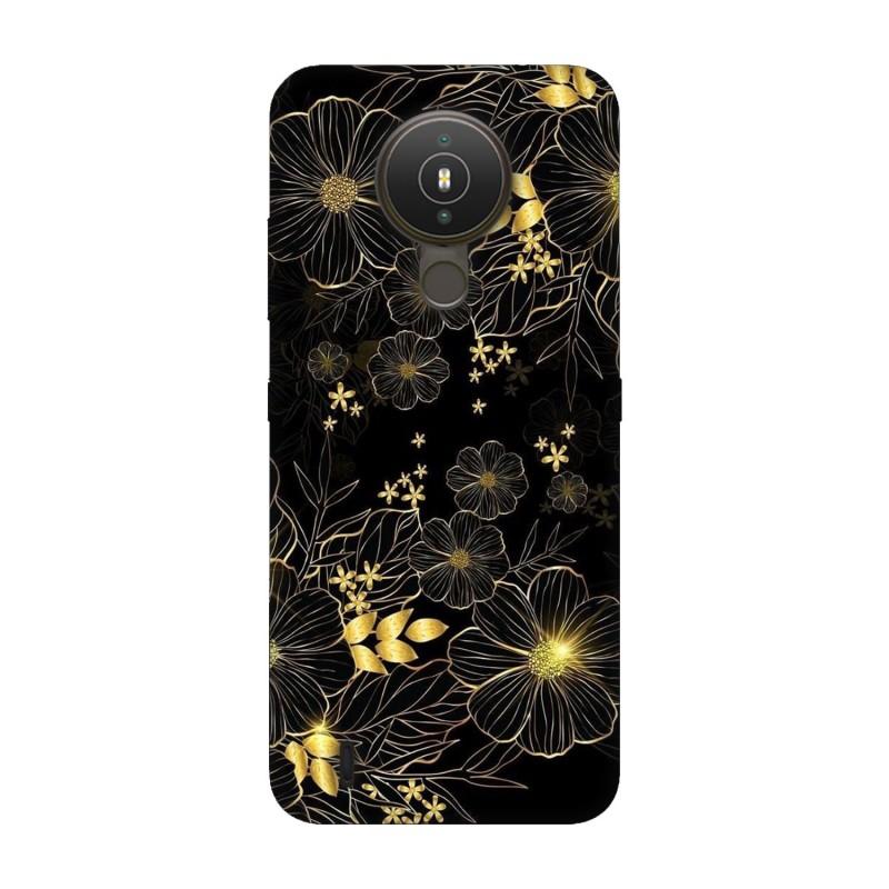 Nokia 1.4 кейс Златни цветя