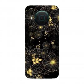 Nokia X10 кейс Златни цветя