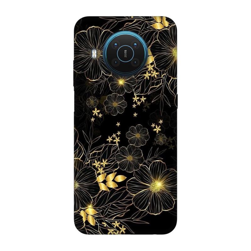 Nokia X20 кейс Златни цветя