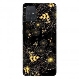 Samsung А71 кейс Златни цветя