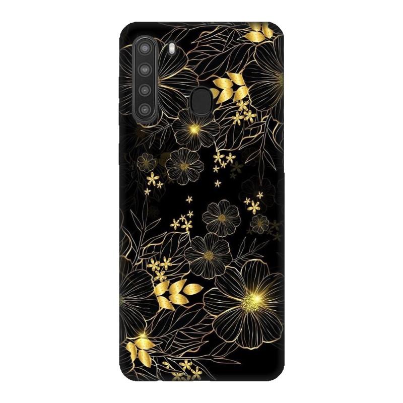 Samsung A21 кейс Златни цветя