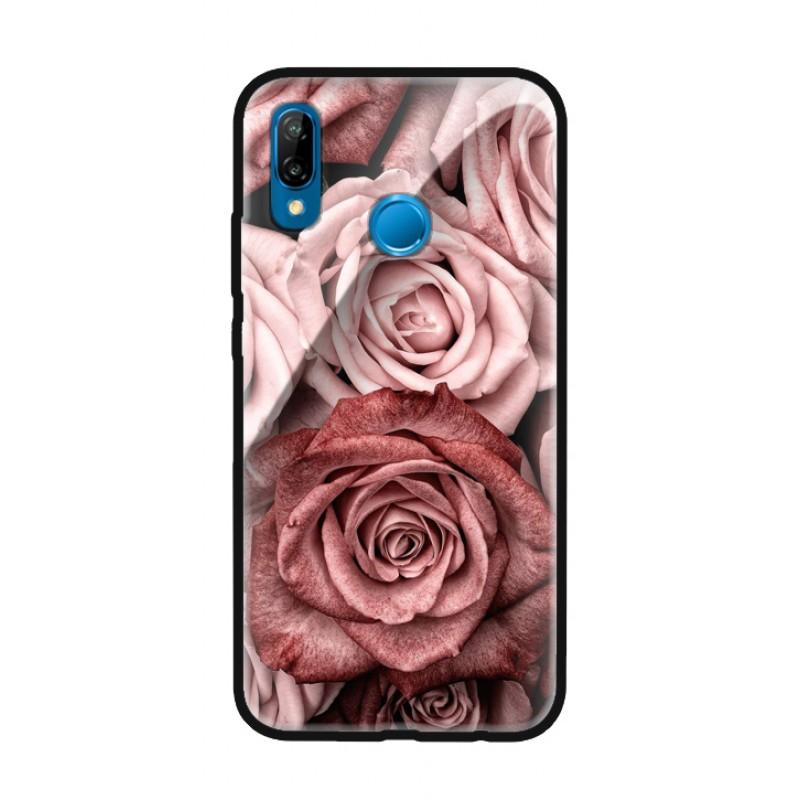 Стъклен кейс за Huawei P20 Pro рози 424